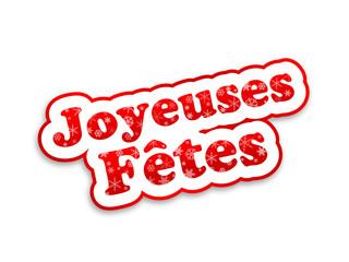 """Etiquette """"Joyeuses Fêtes"""" (noël joyeux bannière tampon bouton)"""