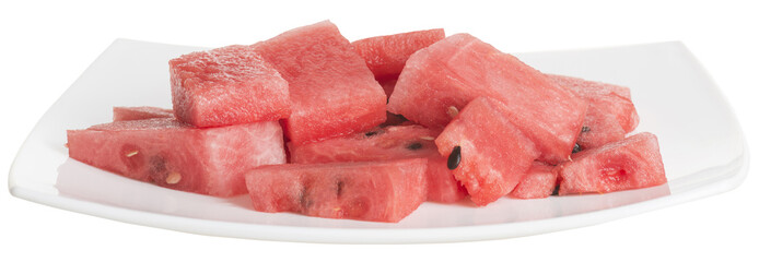 chopped pieces of watermelon in a white dish isolated