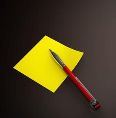 Zettel Gelb - Kugelschreiber