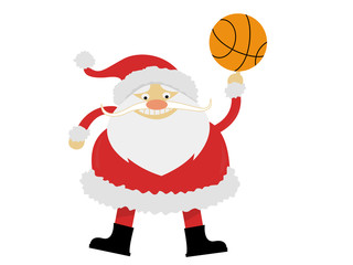 Santa Claus with a ball playing basketball