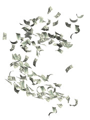 Flying dollar banknotes