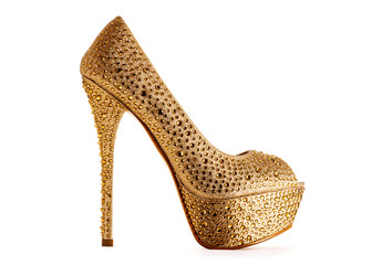Wall Mural - Beautiful sexy gold high heel isolated on white