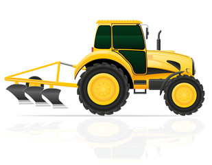 tractor with plow vector illustration