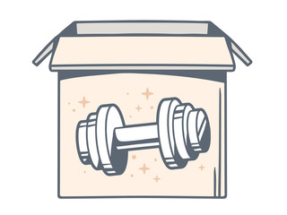 Vector illustration of open box with icon of dumbbell on white b