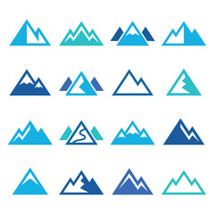 Mountain vector blue icons set