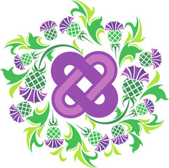 Celtic knot surrounded by flowers thistle