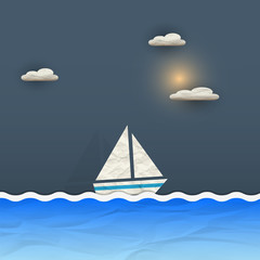Sailing boat and sun with clouds