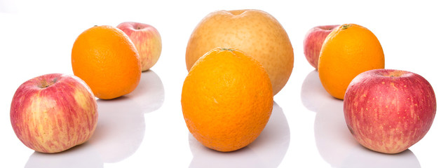 Gala apples, Nashi Asian pears and oranges over white background