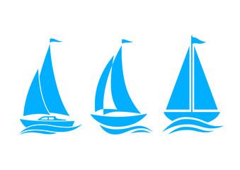 Blue sailboat icons on white background