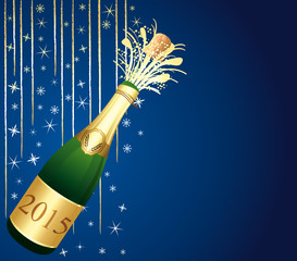 Blue and gold festive Champaign Background.