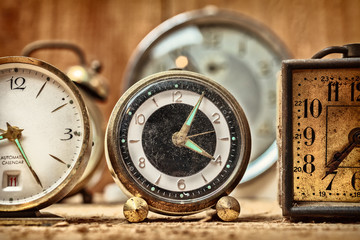 Retro styled image of old alarm clocks