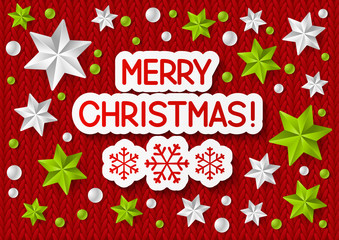 Xmas message on knitted background