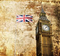 London - Big Ben - Altes Retro Foto mit Flagge
