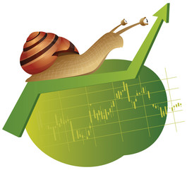 Snail is crawling on a rising green chart