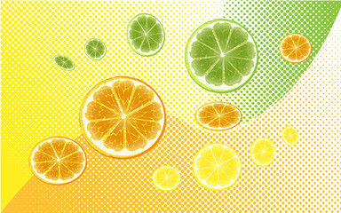 fruit with halftone background