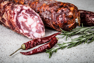 several types of sausages on a light background