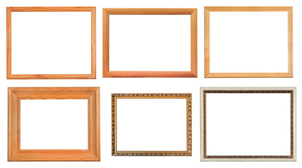 set of different wooden picture frames