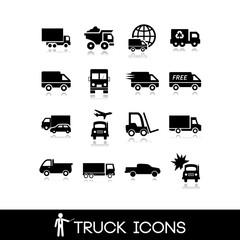 Truck black icon - Set 1