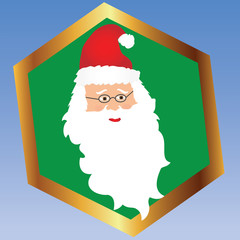 Santa Face in a Gold and Green Frame