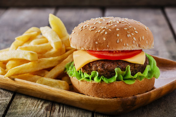 Fototapete - mini burger with French fries