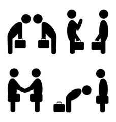 Set of greeting etiquette business situation icons isolated on w