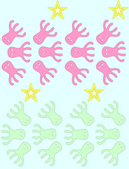 pink and green octopuses