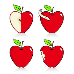 Heart-shaped apple icons with reflection