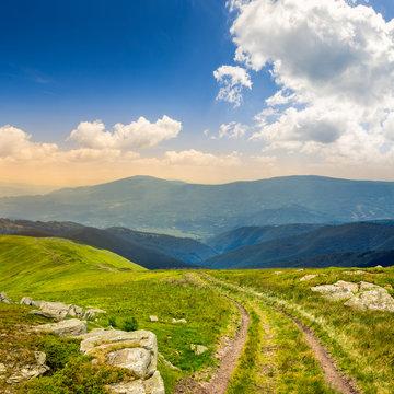 road among stones on the hillside