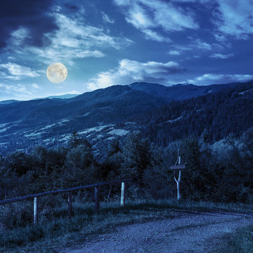 fence on hillside in mountain at night