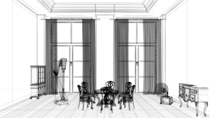 Interior 3d, rendering, tridimensionale, wireframe, salotto