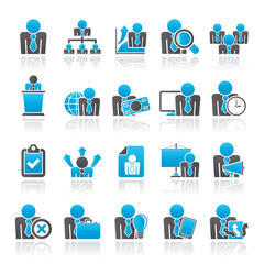 human resource and business icons - vector icon set