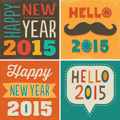happy new year 2015 set of 4 typographic card designs