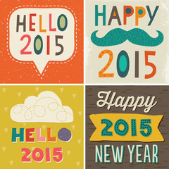 4 typographic card designs happy new year 2015