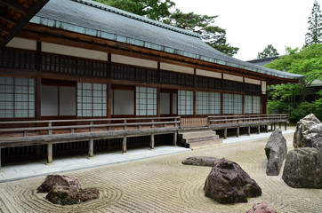 Japanese rock garden in Kongobuji temple