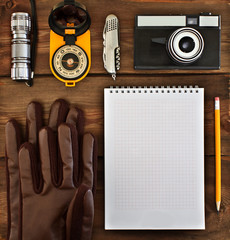 Set of retro items for tourists and travelers