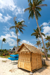 beach, bungalow, palm tree