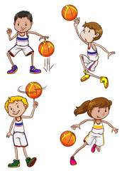 Energetic basketball players