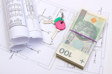 Banknotes, keys and electrical diagrams on drawing of house