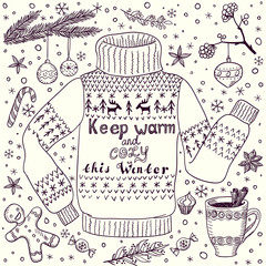 Handdrawn doodle Christmas greeting card with cozy pullover