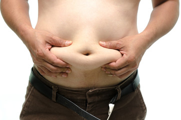 Fat male body part on white background