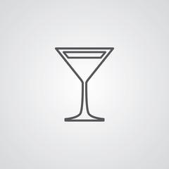 cocktail outline symbol, dark on white background, logo template