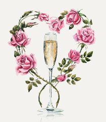 Champagne with roses. Wedding composition. Valentine day.