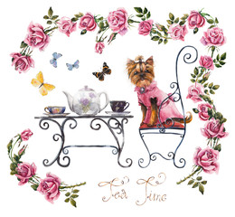 Tea table in the garden. Frame from pink roses.