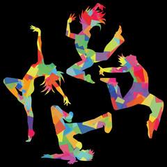 ダンスシルエット(カラフル背景黒)
