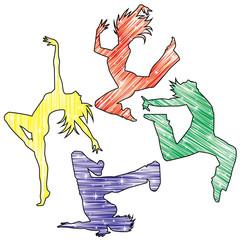 ダンスシルエット(キラキラ流線カラー)