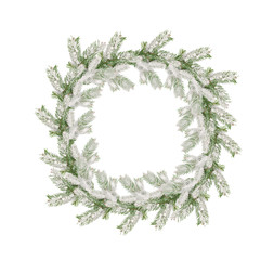 wreath of snow-covered branches of Christmas tree isolated on wh