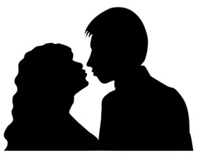 Silhouettes of man and woman isolated on whte background.