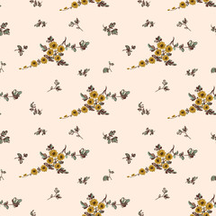 Seamless floral pattern,  yellow flower
