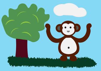 cute monkey cartoon character
