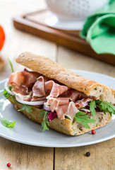Prosciutto with rocket and radicchio sandwich